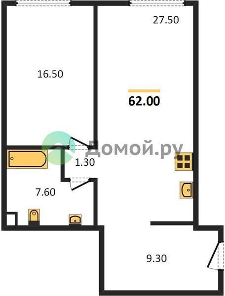 1-комнатная квартира в ЖК Поклонная 9
