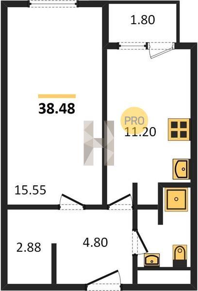 1-комнатная квартира в ЖК Баркли Медовая Долина