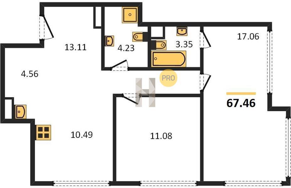 2-комнатная квартира в ЖК Discovery (Дискавери)