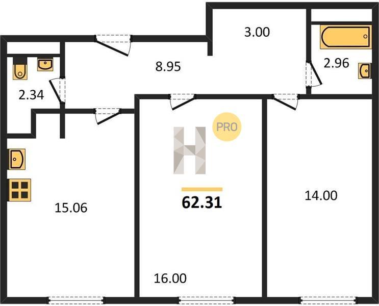 2-комнатная квартира в ЖК Баркли Медовая Долина