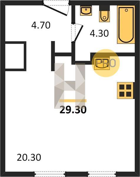 Планировка студия 29,30 м2 в жилом комплексе Кварталы 21/19 5 оч. корп. 2