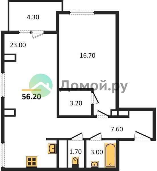 1-комнатная квартира в ЖК Дом 128