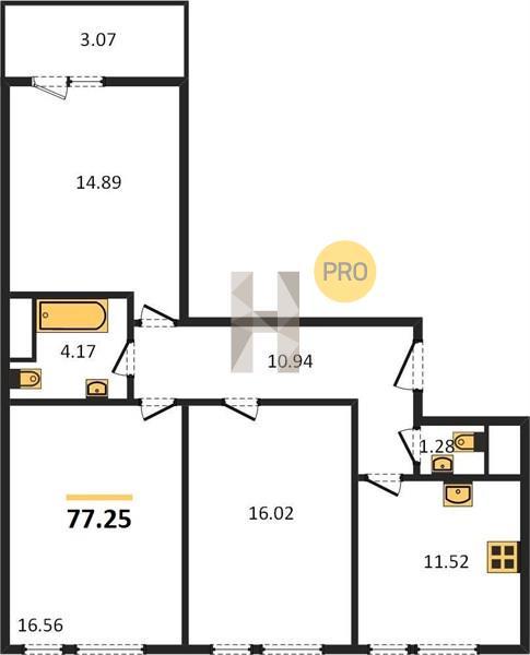 3-комнатная квартира в ЖК Преображение
