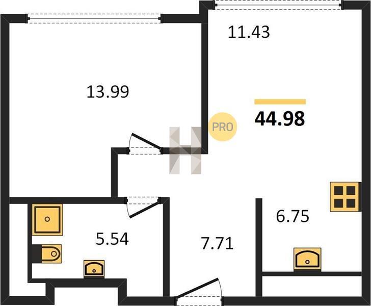 1-комнатная квартира в ЖК Discovery (Дискавери)