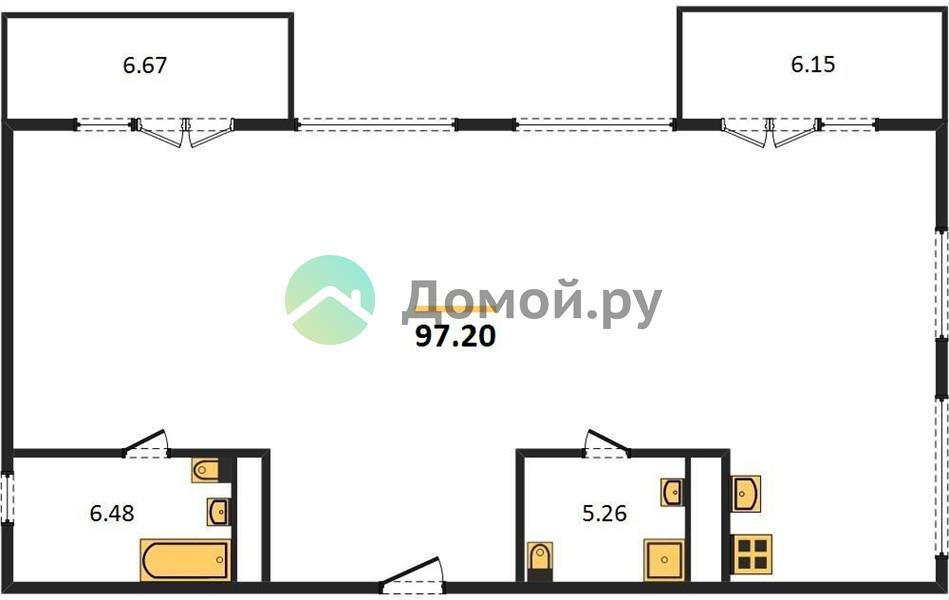 3-комнатная квартира в ЖК Дом Серебряный Бор